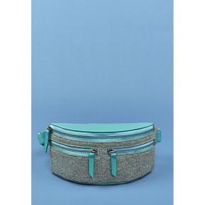blanknote фетровая женская поясная сумка spirit с кожаными бирюзовыми вставками