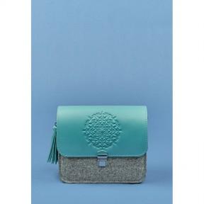 blanknote фетровая женская бохо-сумка лилу с кожаными бирюзовыми вставками
