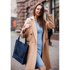 blanknote кожаная женская сумка шоппер бэтси синяя
