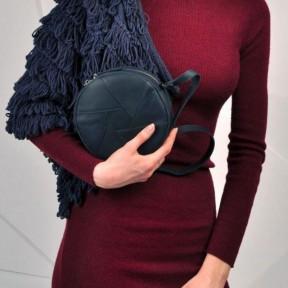 blanknote кожаная круглая женская сумка бон-бон синяя
