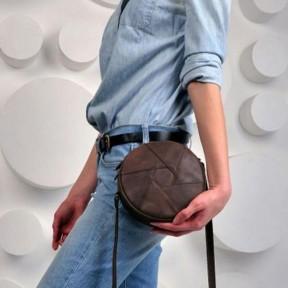 blanknote кожаная круглая женская сумка бон-бон темно-коричневая