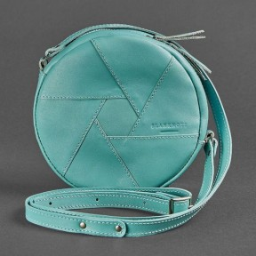blanknote кожаная круглая женская сумка бон-бон бирюзовая