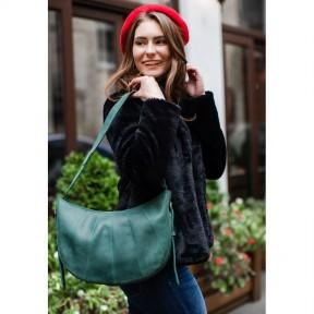 blanknote кожаная женская сумка круассан зеленая