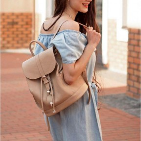 blanknote кожаный женский рюкзак олсен светло-бежевый
