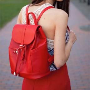blanknote кожаный женский рюкзак олсен красный