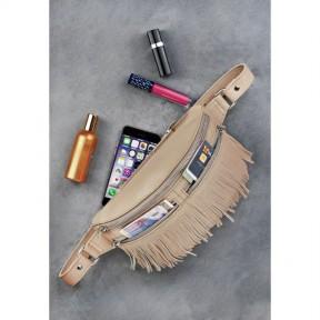 blanknote кожаная женская сумка на пояс spirit светло-бежевая