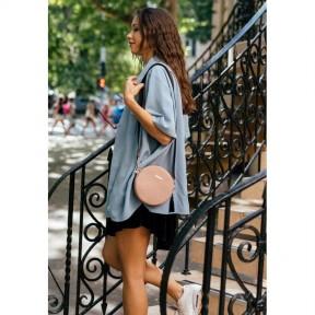 blanknote круглая женская кожаная сумочка tablet светло-бежевая