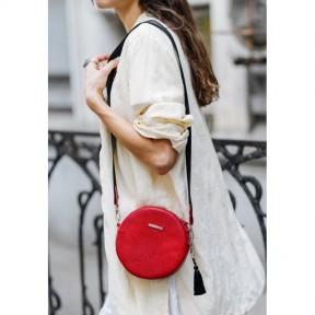 blanknote круглая кожаная женская сумочка tablet красная