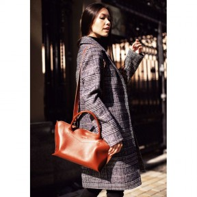 blanknote женская кожаная сумка midi светло-коричневая