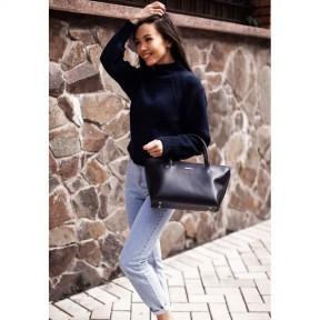 blanknote женская кожаная сумка midi темно-синяя