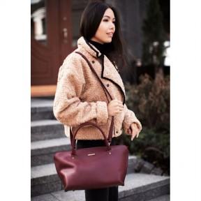 blanknote женская кожаная сумка midi бордовая