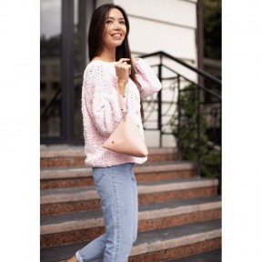 blanknote кожаная женская сумка-косметичка пирамида розовая