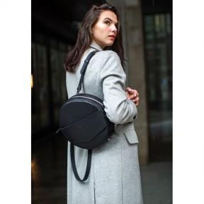 blanknote кожаная женская круглая сумка-рюкзак maxi черная