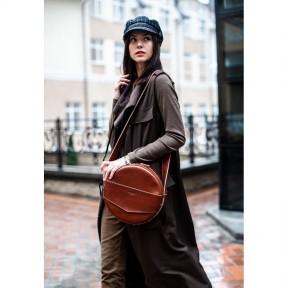 blanknote кожаная женская круглая сумка-рюкзак maxi светло-коричневая