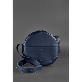 blanknote кожаная женская круглая сумка-рюкзак maxi темно-синяя