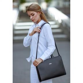 blanknote женская кожаная сумка для ноутбука и документов черная