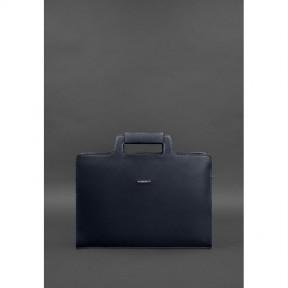 blanknote женская кожаная сумка для ноутбука и документов темно-синяя