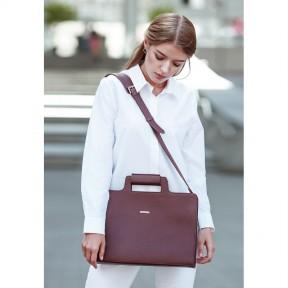 blanknote женская кожаная сумка для ноутбука и документов бордовая