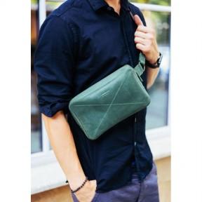 blanknote кожаная поясная сумка dropbag maxi зеленая