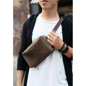 blanknote кожаная поясная сумка dropbag maxi темно-коричневая